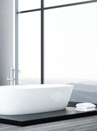 Luxurious white bathtub on wooden floor photo