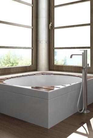 hydromassage: Modern wooden hot tub Stock Photo