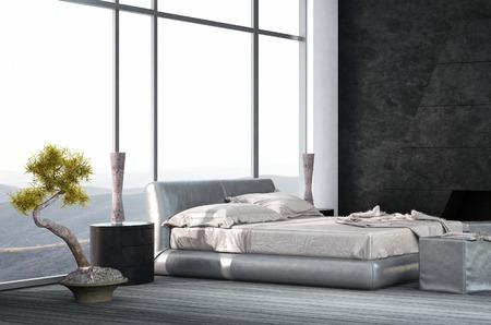 Luxury bedroom interior with wooden floor photo