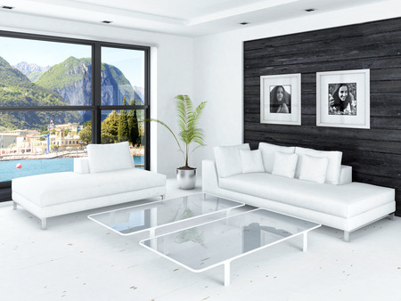pot light: Modern living room with huge windows and black wooden wall Stock Photo