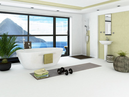 shower cubicle: Modern bathroom interior with light green wall