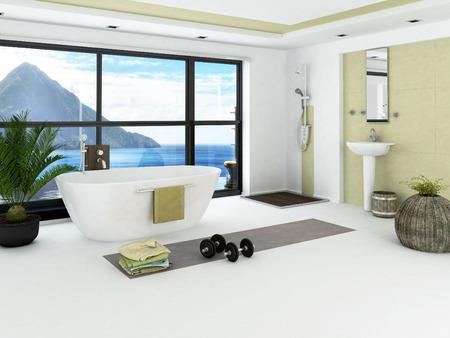 modern bathroom: Modern bathroom interior with light green wall
