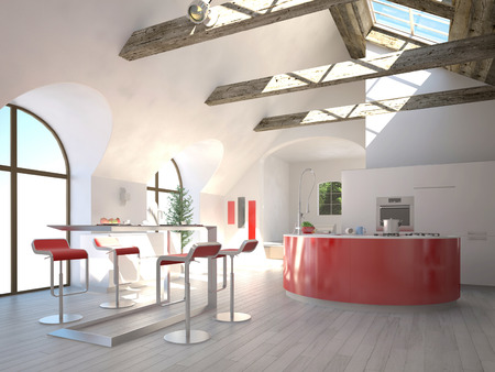 Modern red kitchen interior in a sunny room  photo