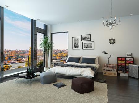 ビンテージ家具とモダンなベッドルームのインテリア 写真素材