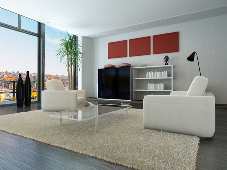 Modern loft interior with trendy living room furniture photo