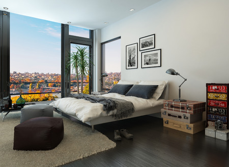 view of a comfortable bedroom: Modern bedroom interior with vintage furniture