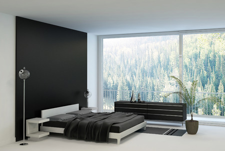 loft apartment: Black and white bedroom with huge windows