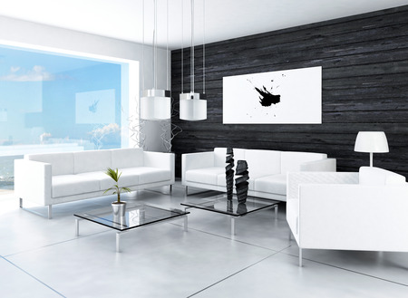 living room window: Modern design black and white living room interior