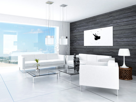 living room sofa: Modern design black and white living room interior