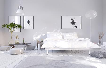chambre Ã?  coucher: Intérieur blanc de chambre à coucher avec lit double Banque d'images