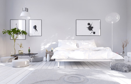 White bedroom interior with double bed