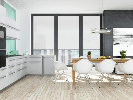 Modern white and green kitchen interior with wooden floor