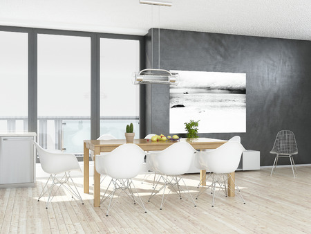 木製の床とモダンなグレーと白のダイニング ルーム