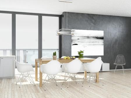 Moderní šedé a bílé jídelna s dřevěnou podlahou