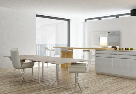 Modern white kitchen and dining interior with wooden floor photo