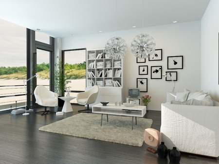 Modern living room interior facing the beach photo