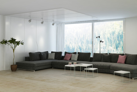 Minimalist living room with black couch and pillows photo