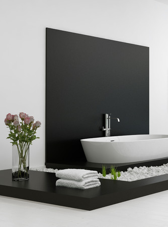 black bathroom: Modern black and white bathroom