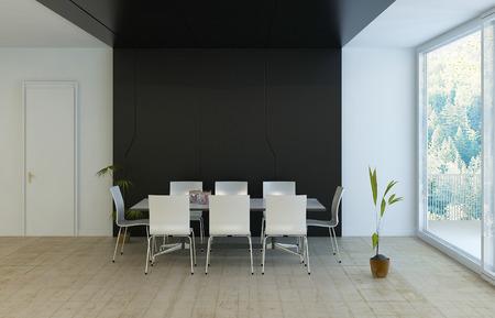 Modern luxury black and white dining room Archivio Fotografico