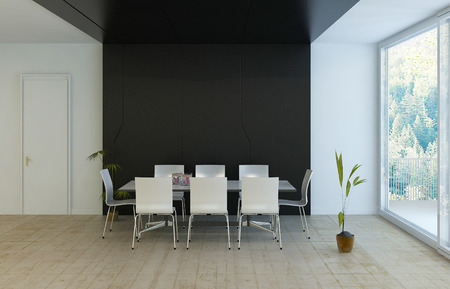 Modern luxury black and white dining room Stock Photo