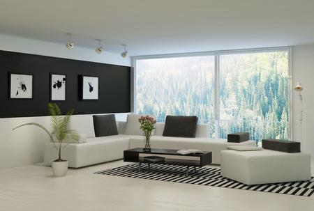 Moderní obývací pokoj s velkými okny a černou zdí