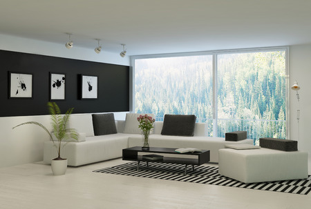 Modern living room with huge windows and black wall Stockfoto