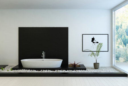 3D rendering: Modern black and white bathroom