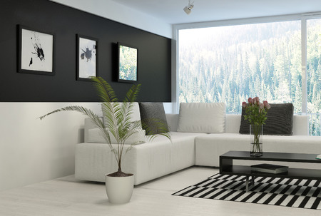contemporary living room: Modern living room with huge windows and black wall Stock Photo