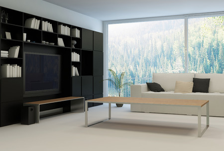Modern living room with beige couch and black cabinet photo