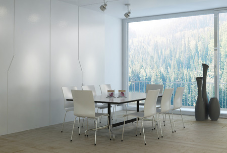 Modern luxury white dining room photo