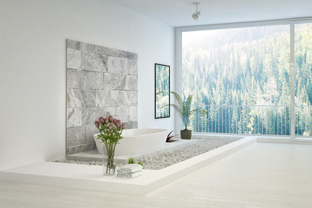Modern stone designed white bathroom Stock Photo