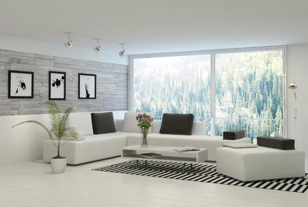 Moderne woonkamer met grote ramen en stenen muur Stockfoto