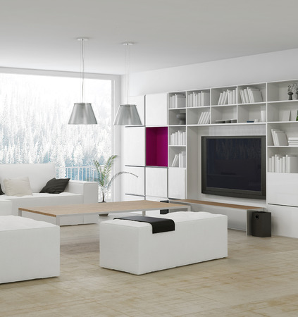 modern sofa: Modern living room with beige couch and white cabinet Stock Photo
