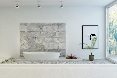 Modern stone designed white bathroom photo