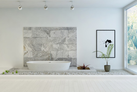 bathroom: Modern stone designed white bathroom Stock Photo