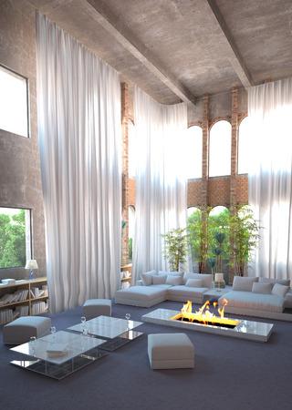 cortinas blancas: Interior moderno dise�o tipo loft y cortinas blancas