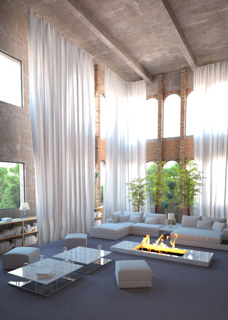 futuristic interior: Modern design loft interior and white curtains