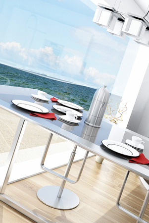 Modern interior with dining table with seascape view photo