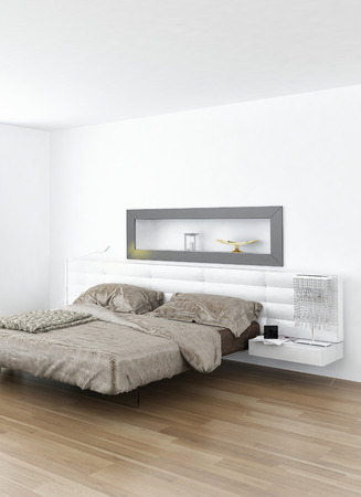 Luxurious white bedroom interior with double bed photo