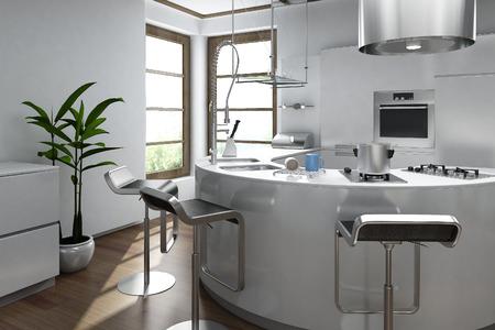 kitchen knife: Interior moderno de la cocina de lujo
