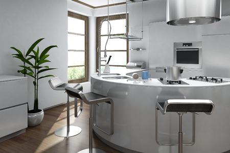 contemporary: Modern luxury kitchen interior  Stock Photo