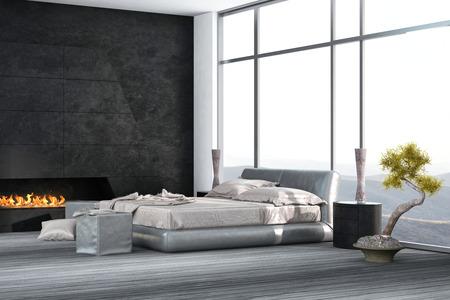 chambre à coucher: chambre de luxe intérieur avec plancher et cheminée en bois