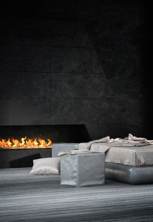 Luxury bedroom interior with wooden floor and fireplace