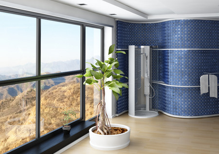 Modern bathroom interior with shower cubicle and blue wall photo