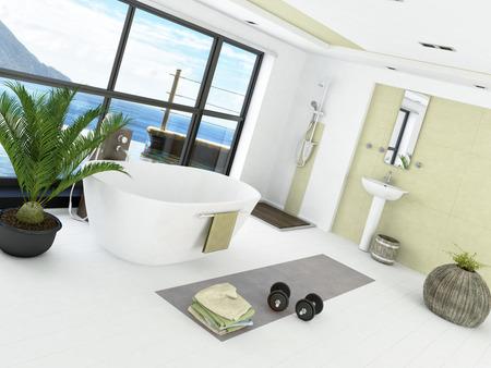 Modern bathroom interior with light green wall photo