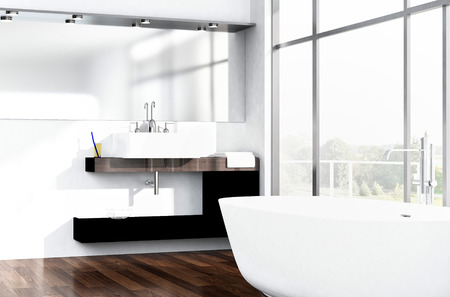 モダンな白高級バスルーム インテリア 写真素材 - 31819257