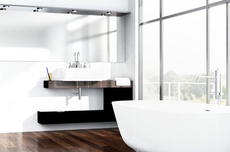 bañarse: Interior blanco Baño de lujo moderno