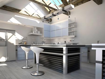 cucina moderna: Soleggiato cucina moderna interni con due sgabelli da bar