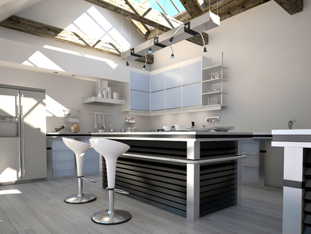 Sunny modern kitchen interior with two bar stools Standard-Bild