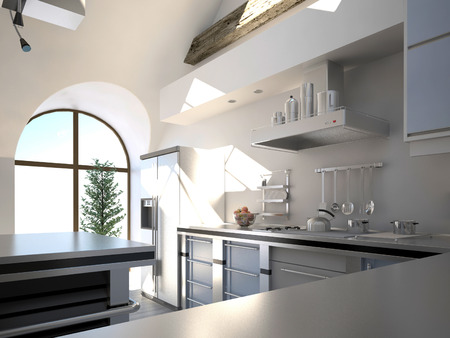 Sunny modern kitchen interior  photo